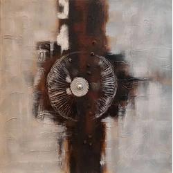 Abstract schilderij met moeren breedte x hoogte in cm: 100 x 100 (33)