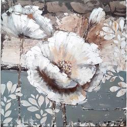 Grijs/witte bloem breedte x hoogte in cm: 100 x 100 (03)