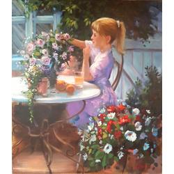 Meisje met bloemen stilleven van Gerard Groeneveld breedte x hoogte in cm: 70 x 80 (77)