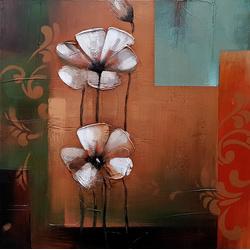 Abstracte bloemen breedte x hoogte in cm: 60 x 60 (102)