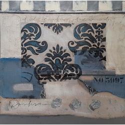 Abstracte kunst wit en blauw breedte x hoogte in cm: 100 x 100 (106)