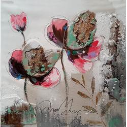 3 Kleurrijke bloemen breedte x hoogte in cm: 60 x 60 (111)